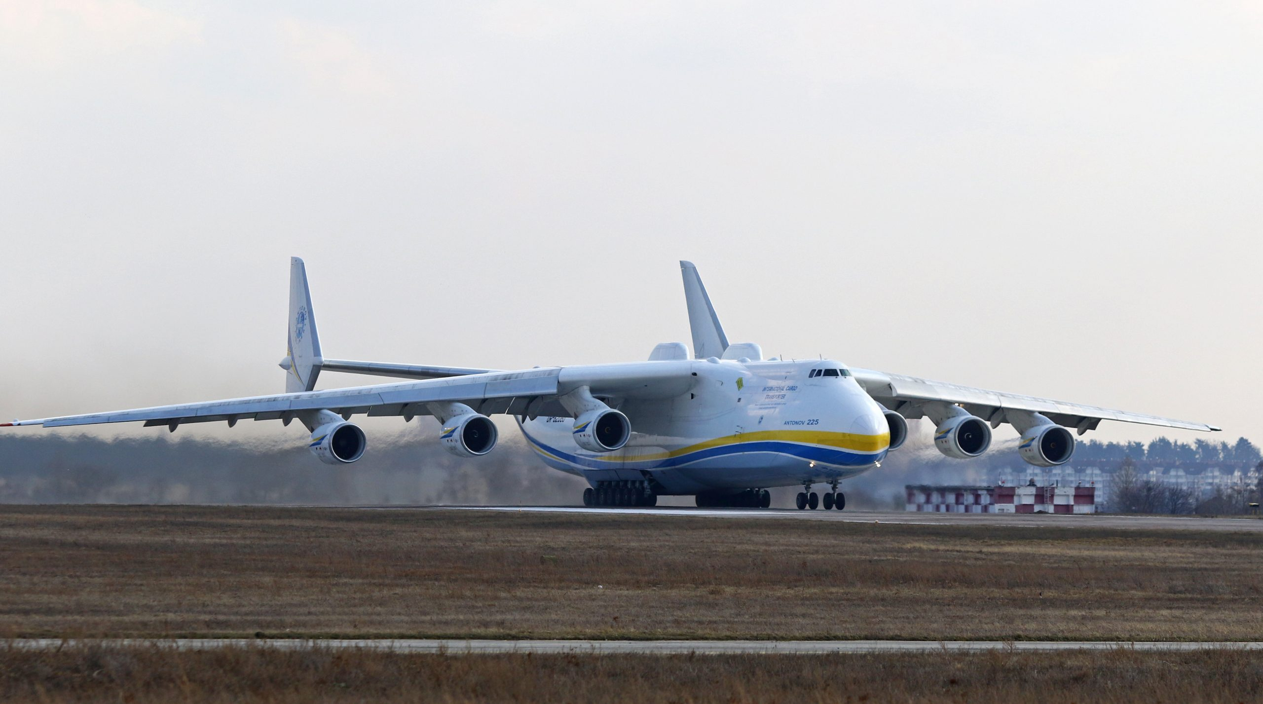 """krainian Antonov An-225 """"Mriya"""" aircraft takes off from the Gostomel airport in Kyiv, Ukraine. The giant An-225 cargo plane is the heaviest aircraft ever built"""